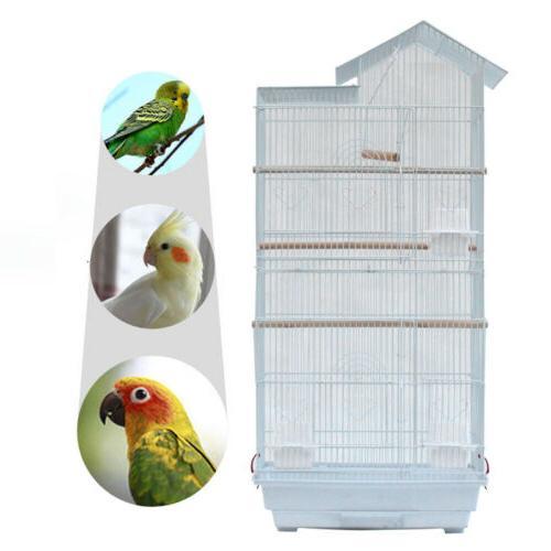 Steel Bird Parrot Cage Canary Parakeet Cockatiel W Wood Perc