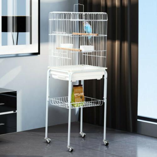 47'' Rolling Bird Cage for Medium Parrot Cockatiels Conures
