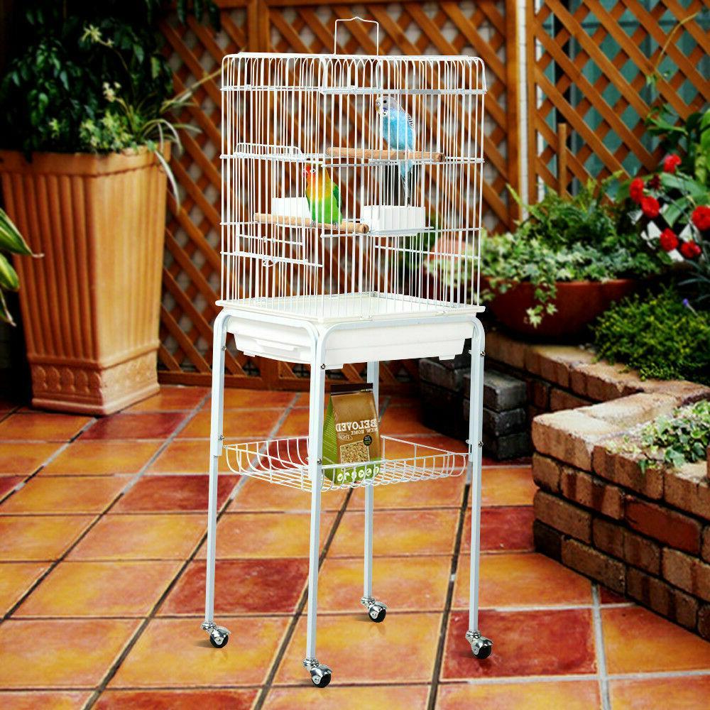 47h metal rolling bird cage parakeet finch