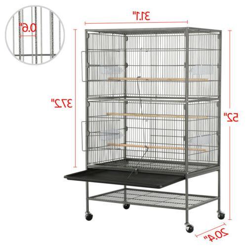 """52"""" Rolling Large Conure Cockatiel Bird Cage"""