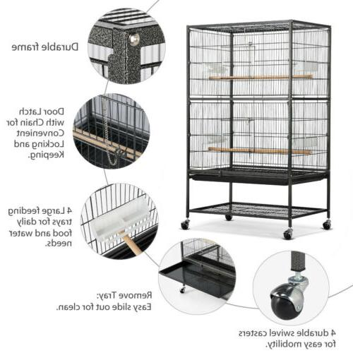 "52"" Cage Parrot Chinchilla Cockatiel Large w/Stand, Cups"