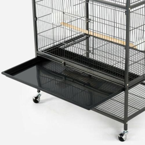 "52"" Bird Cage Chinchilla w/Stand, 2 Doors, Cups"