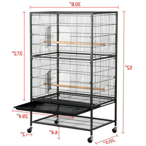 "52"" Bird Cage Parrot Chinchilla Cockatiel w/Stand, 2 Cups"