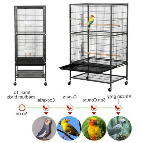 "52""Large Bird Parrot Cockatiel Conure Lovebird Cage"