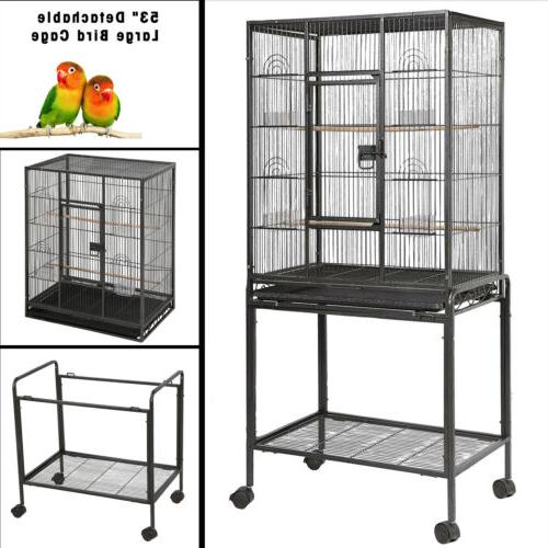 "53"" Large Parrot Finch Cage Bird Two Doors Play Top Pet with"