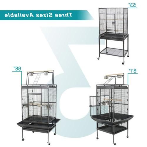 "53"" 59"" 61"" 68"" Large Bird Iron Cage Play Top Parrot Cage"