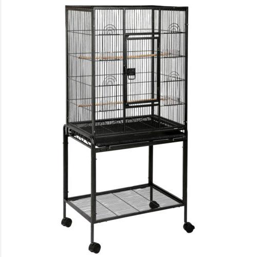 "53"" Parrot Cage Lovebird Finch Feeder Stand Top House"