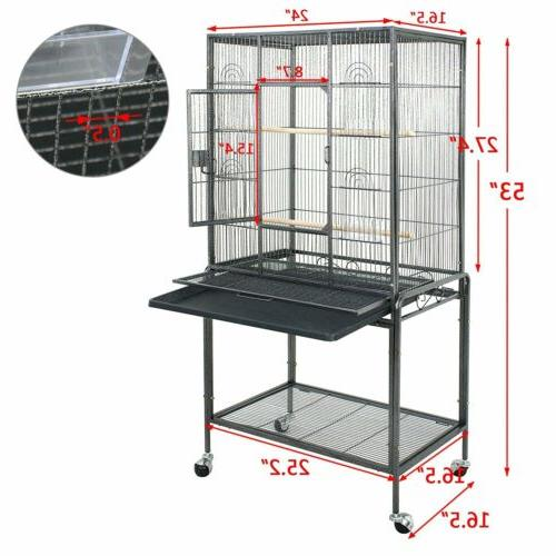 "53"" Black Parrot Cage Bird for Cockatiel Parakeet Finch Play"