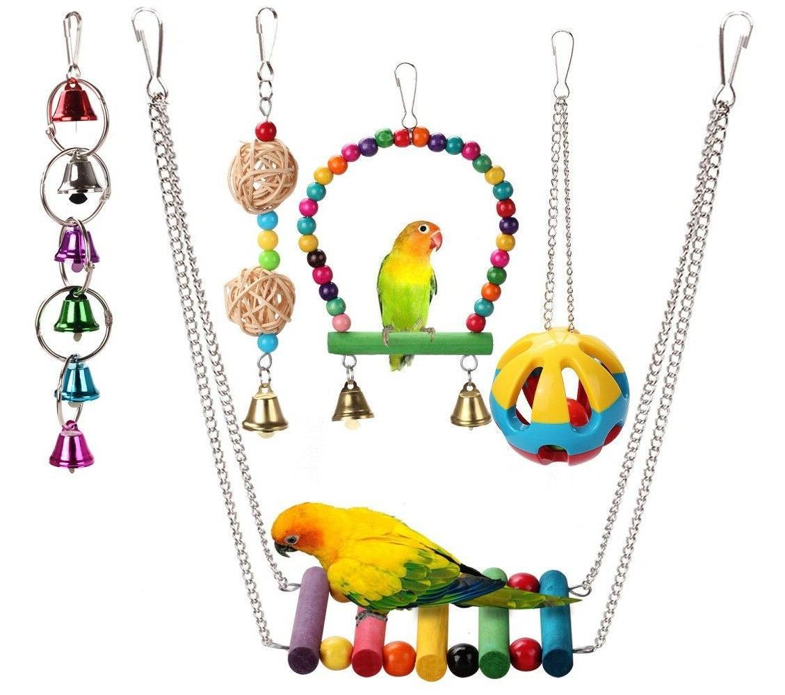 5pcs bird hanging swing bell toys fun