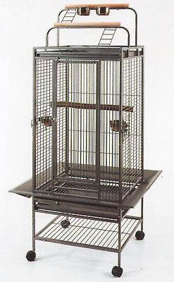 "60"" NEW Double Ladders Open Play Top Wrought Iron Parrot Mac"