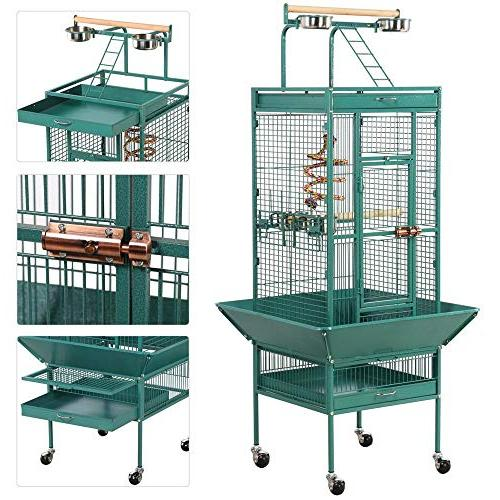 Yaheetech Select Bird Cages Include Bungee Rope for African Mid-Sized Parrots Cockatiels Indian Sun Parakeet Green Conure Lovebird Play