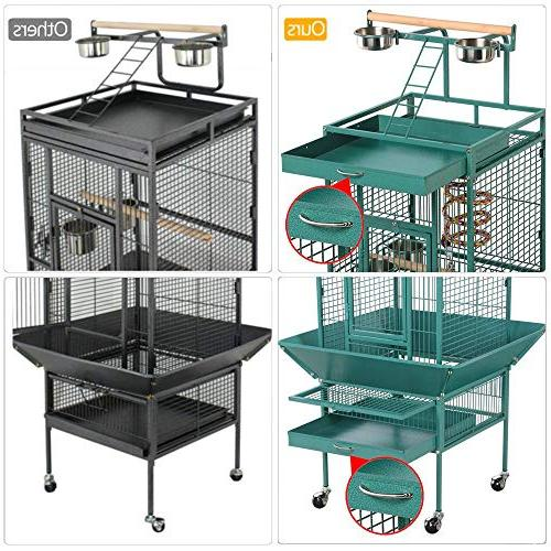 Yaheetech 61'' Select Include Rope for African Grey Cockatiels Indian Ring Sun Parakeet Conure Lovebird Budgie Play Top