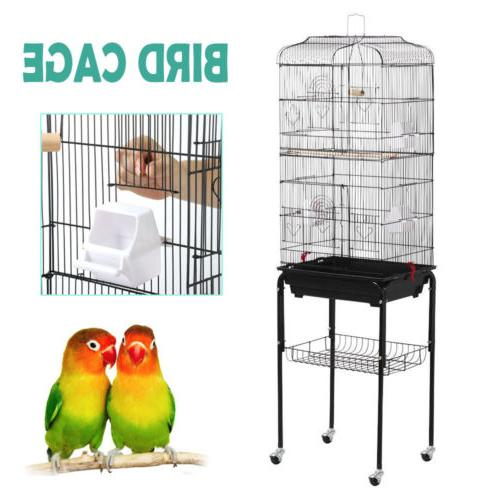 62.2'' Rolling Large Bird Cage Parrot Finch Aviary Pet P