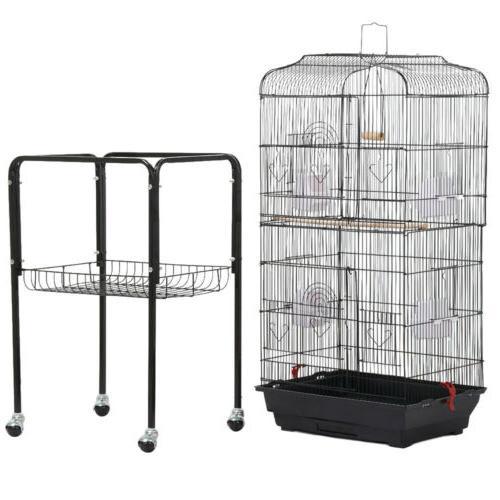 """62.2"""" Bird Parrot Play Metal Stand Doors Wheel"""