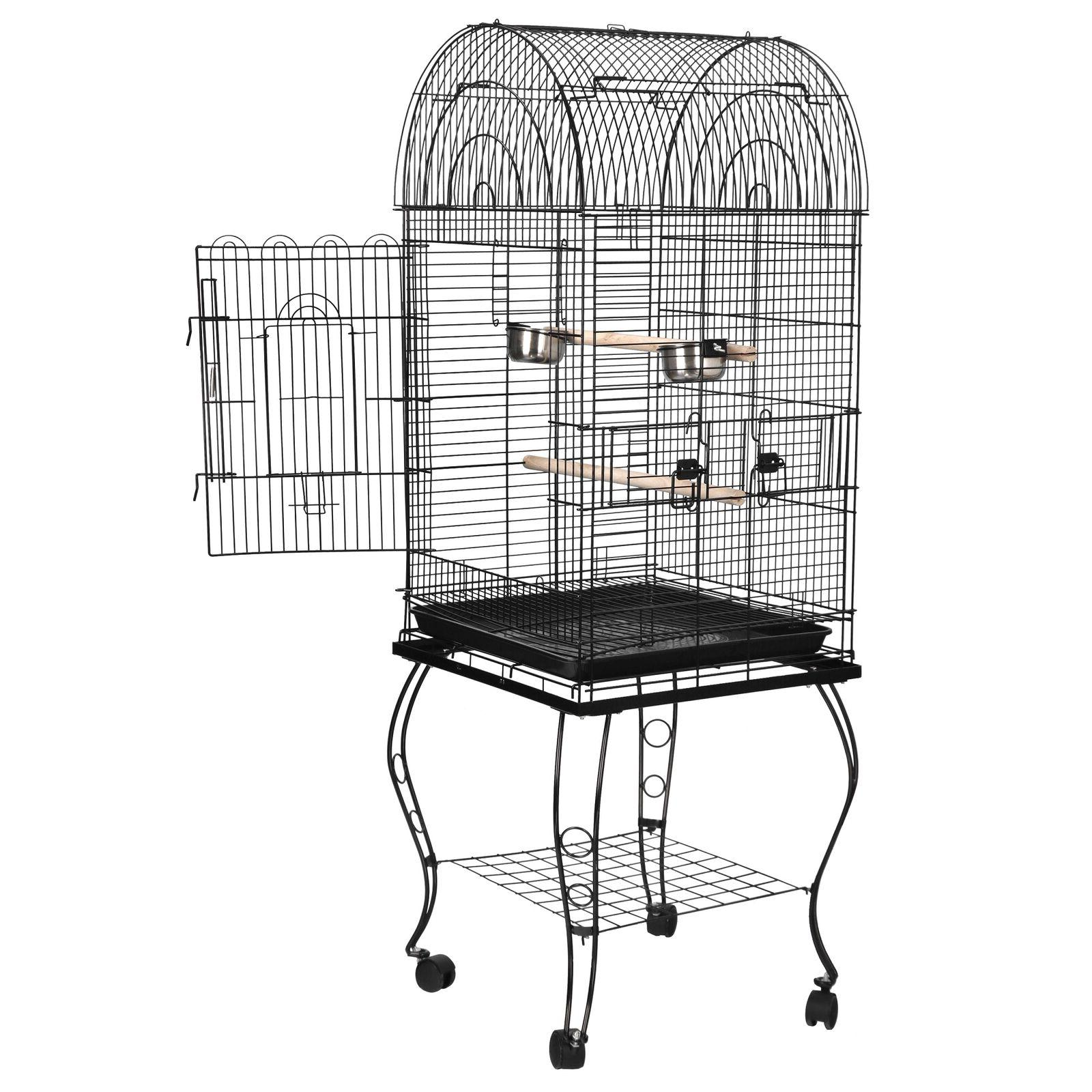 """63"""" Rolling Open Top Durable Bird Cage with Detachable Stand"""