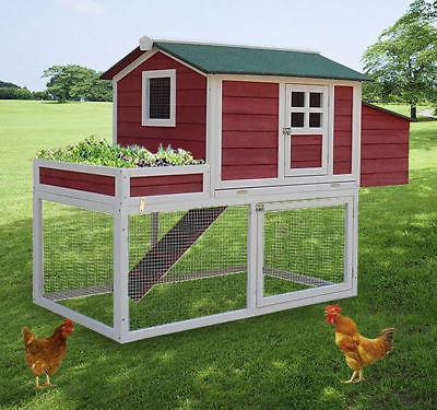 "PawHut 63"" Chicken Coop Wooden Poultry Hen Hutch House Nesti"