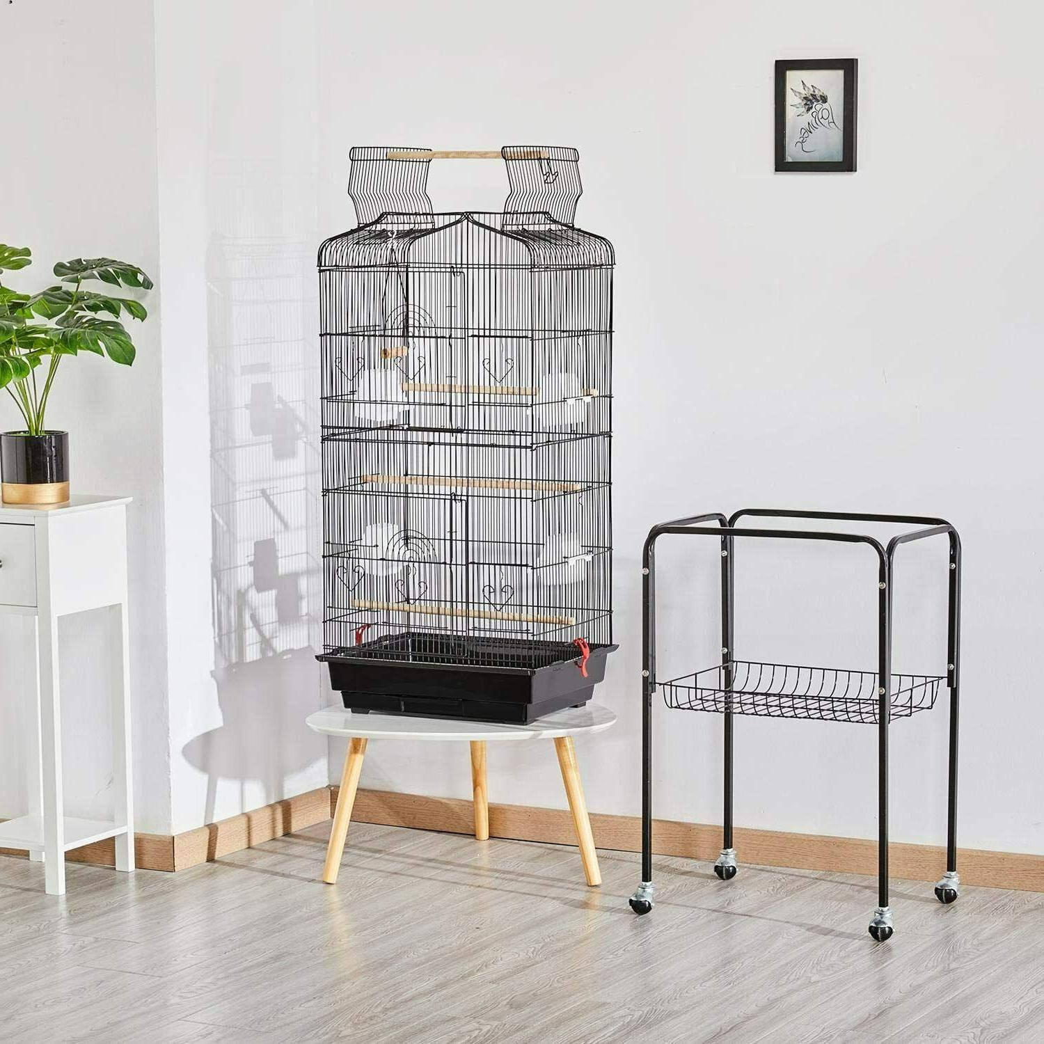 Bird Parrot Cage Rolling Stand 64 inch High for Lovebirds Co