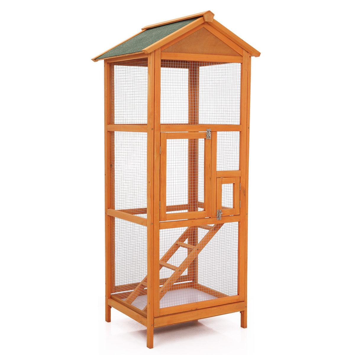 "65"" Cage Wooden Outdoor Crate Parrot Canary Parakeet House"