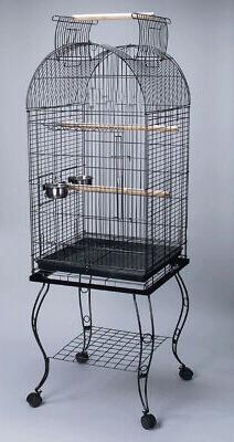 """65"""" Rolling Stand Medium Dome Bird Cage Open Top Quaker Parr"""