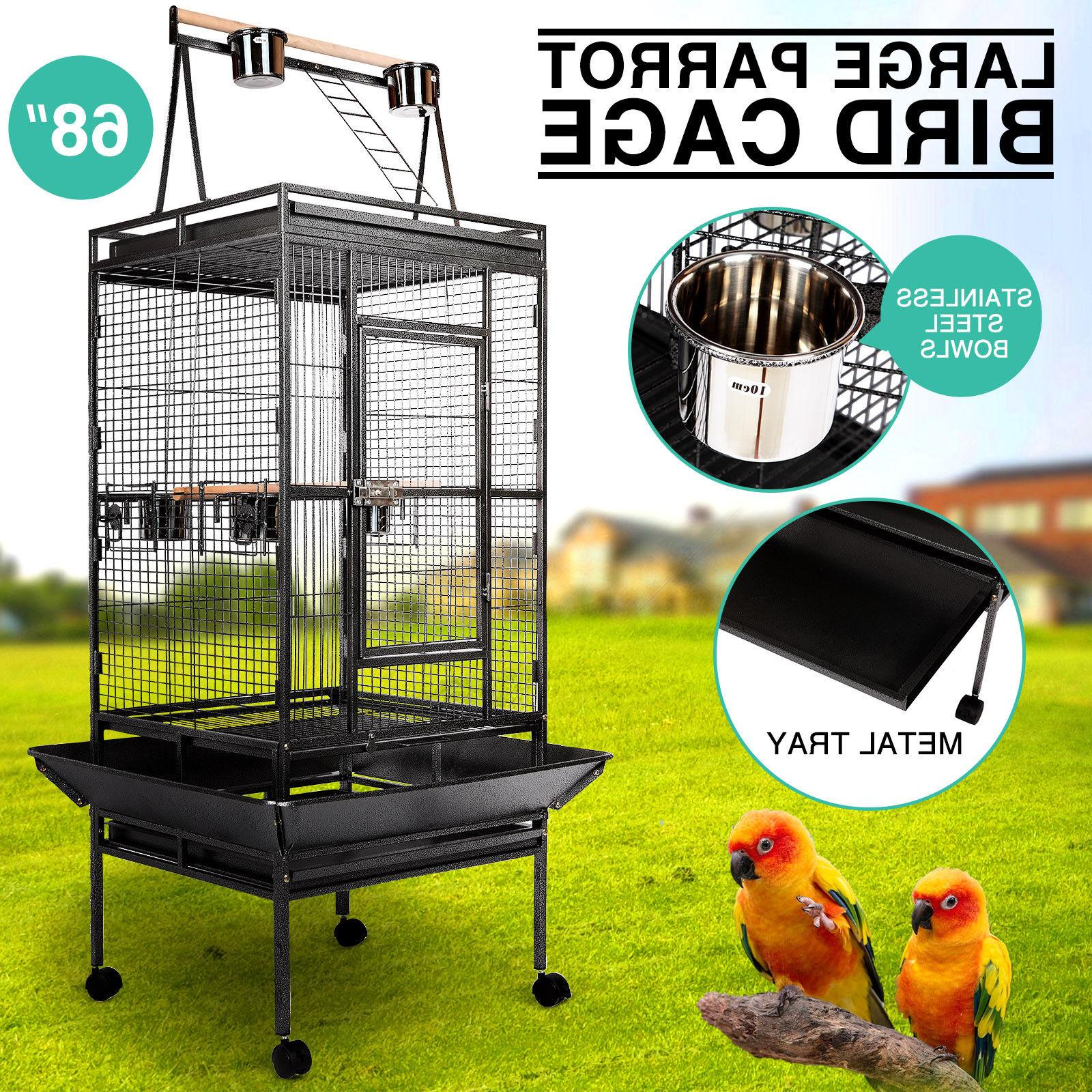 68 large bird cage play top parrot