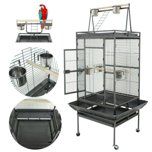 Large Bird Cages Play Top Parrot Finch Aviary Supplies w/Sta
