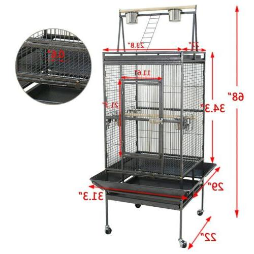 "Bird Cage 68"" Large Play Top Parrot Finch Cage Macaw Cockato"