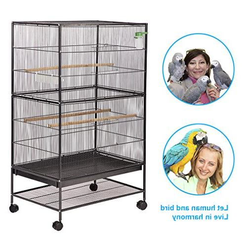 "BestPet Flight Cage 53"" Large Perch Stand Two Doors Iron Aviary House"