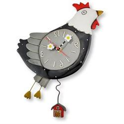 Allen Designs Flew the Coop Chicken Wall Clock with Barn Pen