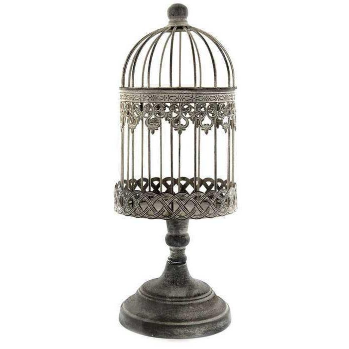 Antique Rustic Beige Small Iron Bird Cage On Stand. Free Shi