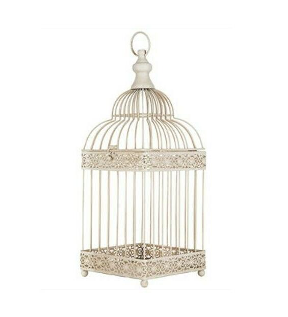 Antique Style White Metal Decorative Bird Cage - Wedding ven