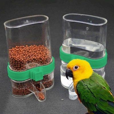 Bird Acrylic Automatic Cage Water Food Feeder Pet Parrot Coc