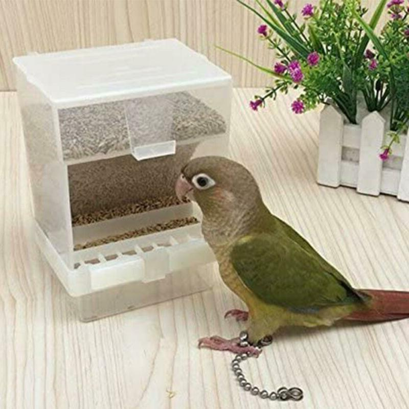 Pet Bird Cages Food Seed Dispenser Automatic No Mess