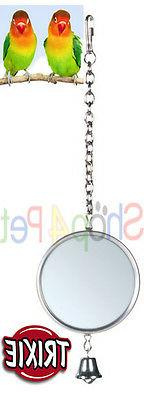 BIRD CAGE MIRROR TRIXIE WITH METAL FRAME & BELL BUDGIE CANAR