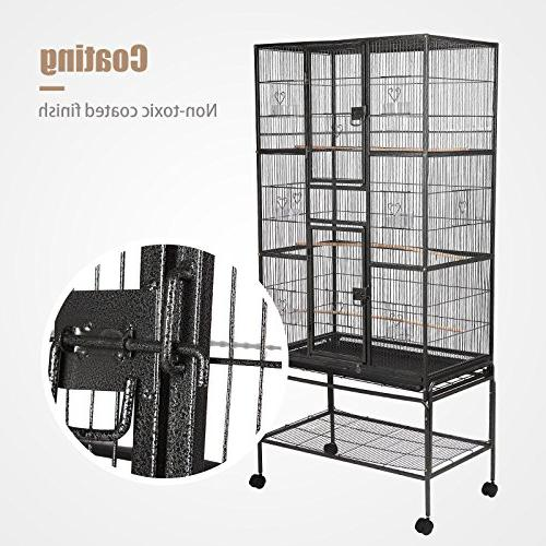 SUNCOO for Parrot Cockatoo Iron Aviary with Pet Supply