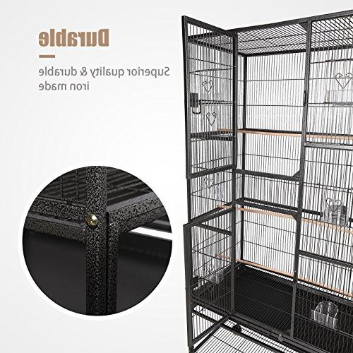 SUNCOO Cage for Parrot Budgie Parakeet Cockatoo Cocatiel Iron Aviary Pet Supply