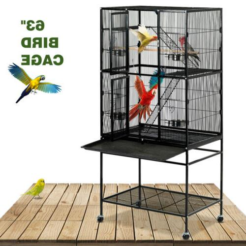 "69"" Large Bird Pet Cage Wooden Bridge Ladder Parrot Cockatie"