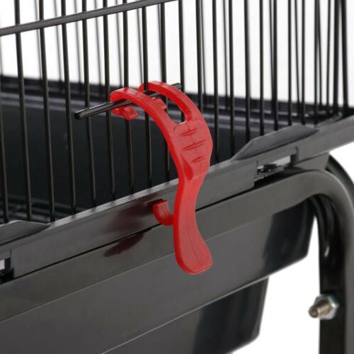 """62.2"""" Cage Parrot Play Cockatiel House Metal Stand Doors Wheel"""