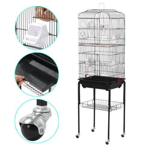 """62.2"""" Bird Cage Large Parrot Play Cockatiel Metal Stand Doors Wheel"""