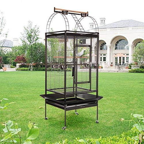 VECELA Top 68 Inch with Circular Staircase Birdcage for Parrot Large Pet House Black