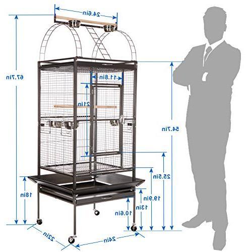 VECELA Bird Cage Top Cage Inch Pet House Black