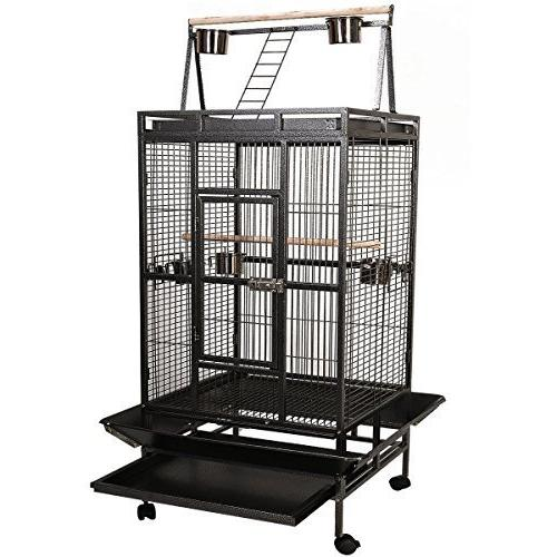 Bird Cage Play Top Finch Macaw Supplies Black
