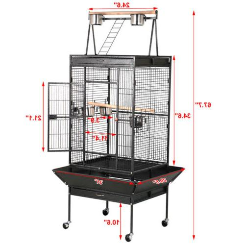 "68"" Bird Play Top Parrot Cage Macaw Cockatoo Supply"