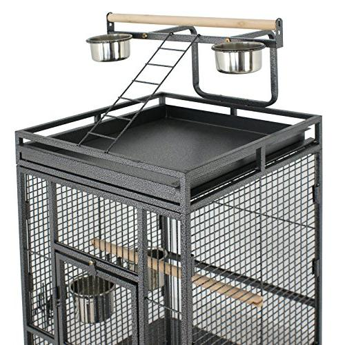 SUPER PRO Large Play Stand Parrot Cage Macaw Pet House, 61 Wrought