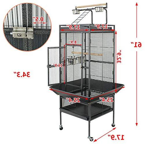 SUPER DEAL Large Bird Play Top & Rolling Cage Pet 61 Wrought Iron