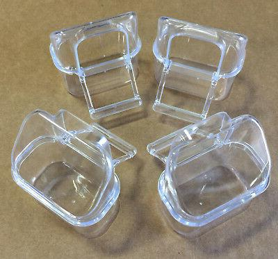 Lot of 4 Bird Cage Seed Water Feeder Cup - 4xC8054 Clear Pla
