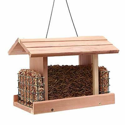 BIRD Double Window Suet Holder Wooden Cedar
