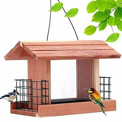 BIRD FEEDER Plastic Wooden Cedar SOLUTION4PATIO