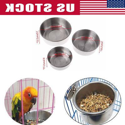 Bird Feeders Parrot Stainless Steel Food Bowl Parrot Cage St