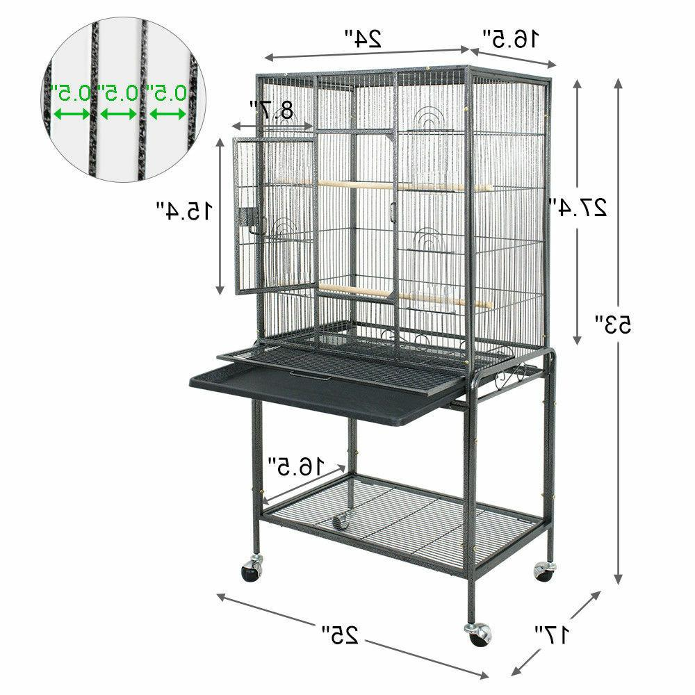 "Bird Parrot Cage 25Wx17Dx53H Bar Spacing 1/2"" Cockatiel Conu"