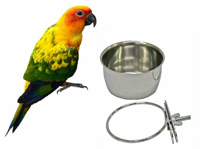 Bird Parrot Feeding Cups Cage Hanging Bowl Stainless Steel P